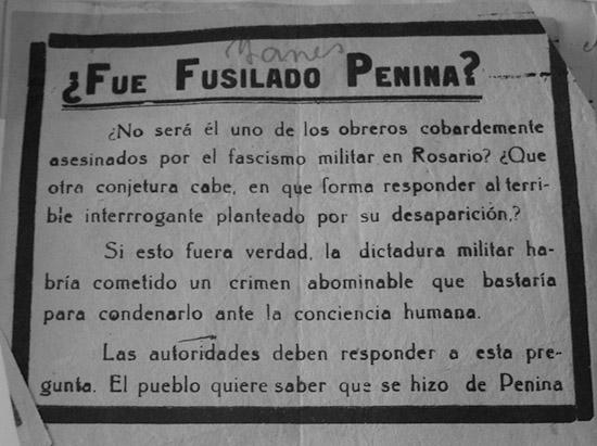 Volante que se refiere al primer anarquista fusilado por el régimen de facto de Uriburu.