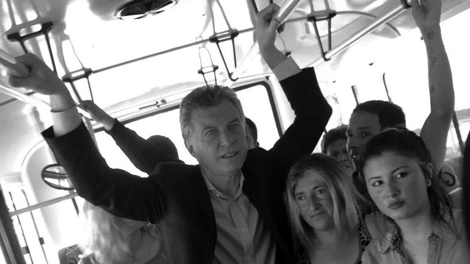 Macri en el simulacro del colectivo