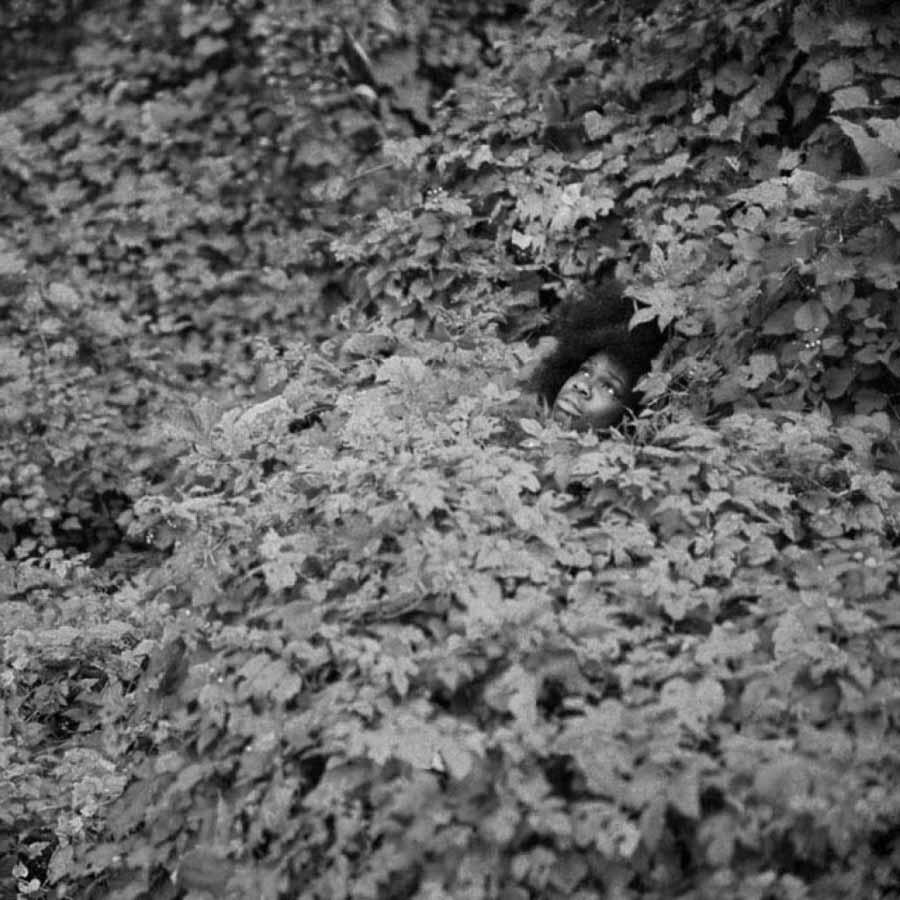 ryan-mcginley-bosque-mujer-negra-escondida-arbustos-plantas
