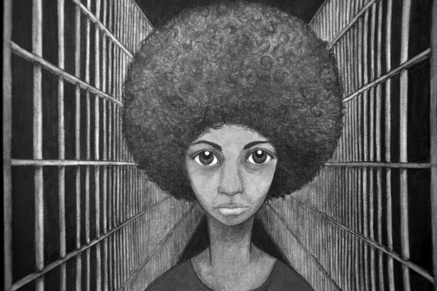 Estados Unidos Angela Davis dibujo la-tinta
