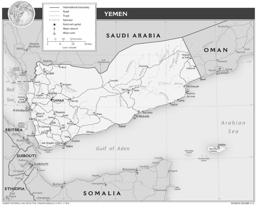 Yemen mapa la-tinta