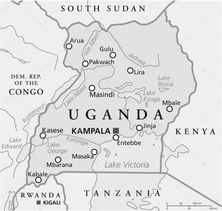 Uganda mapa Africa la-tinta