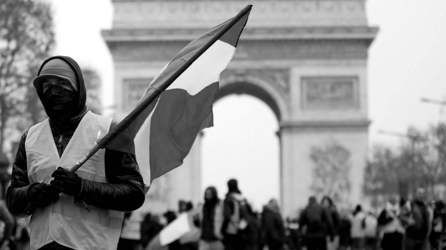 Francia chalecos amarillos bandera la-tinta