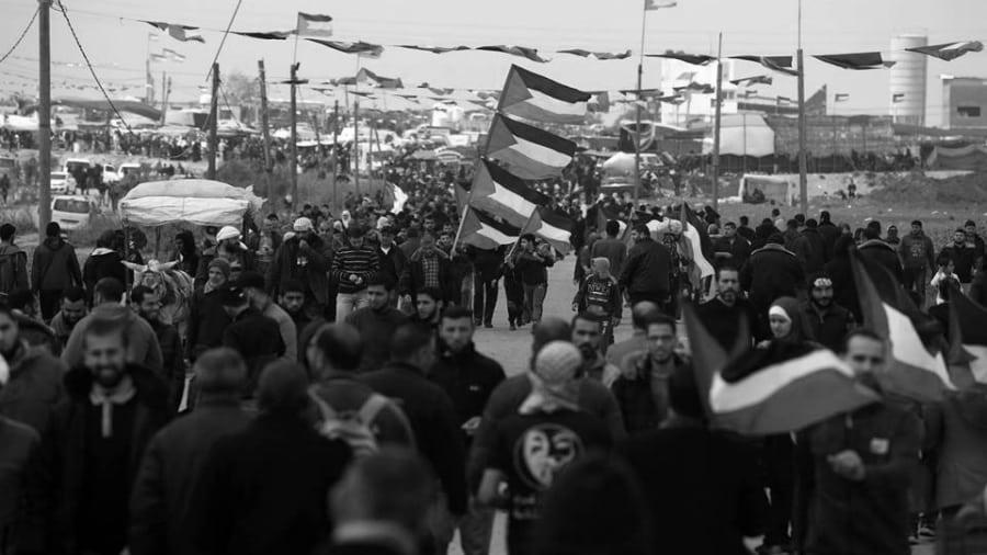 Palestina Marcha del Retorno banderas en Gaza la-tinta