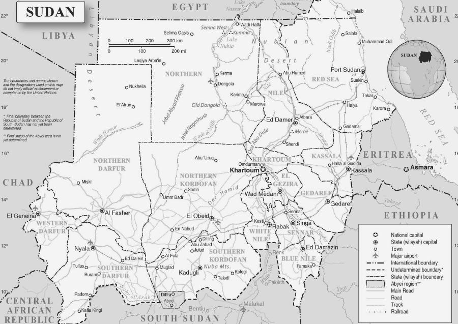 Sudan mapa la-tinta