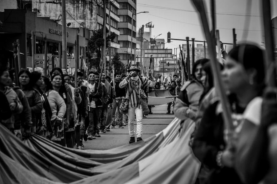Colombia Bogota minga indigena la-tinta