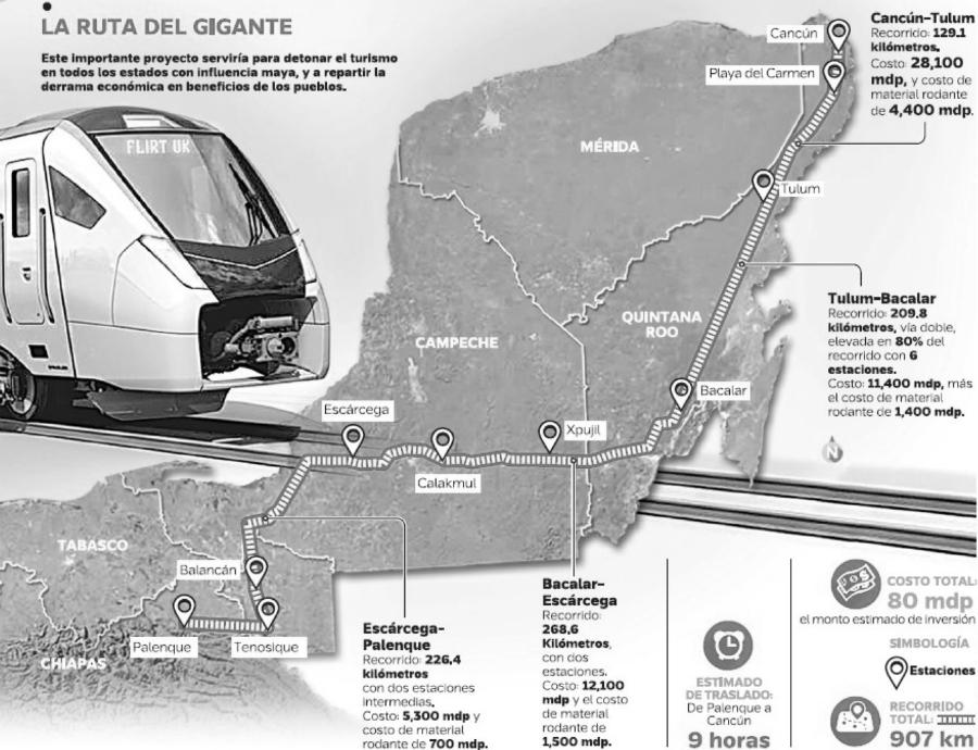 Mexico mapa del tren maya la-tinta