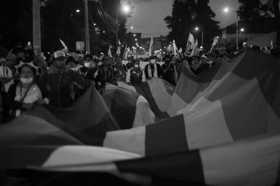 Ecuador Quito marcha bandera la-tinta