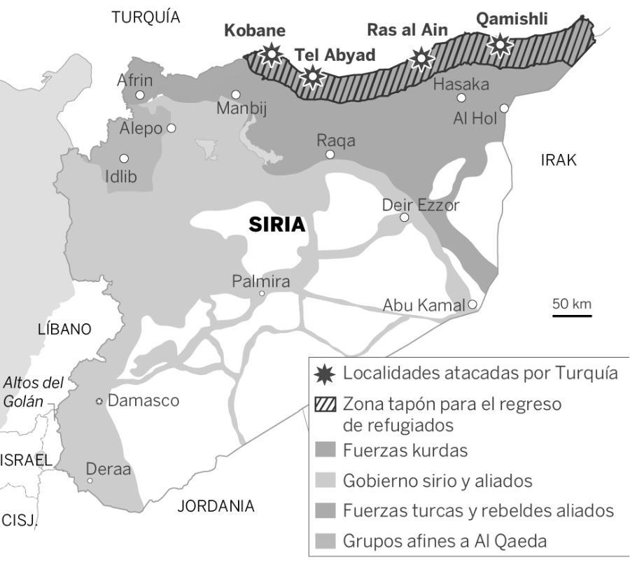 Siria ataques turcos mapa la-tinta