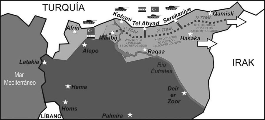 Siria frontera con Turquia mapa la-tinta