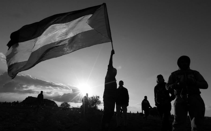 Palestina protesta y bandera la-tinta