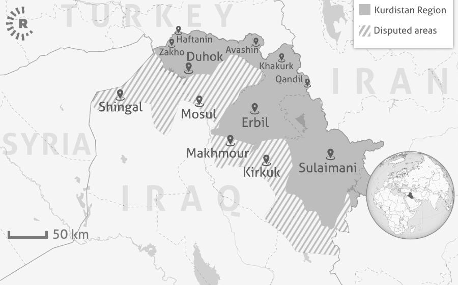 Kurdistan region iraqui mapa la-tinta
