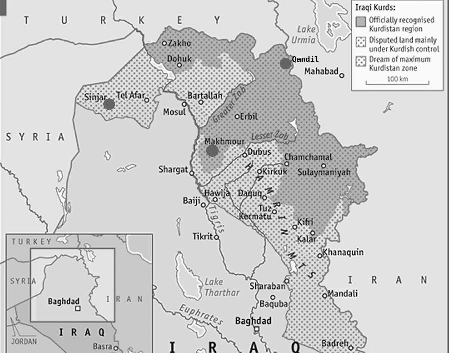 mapa bombardeos turcos en Kurdistan iraqui la-tinta