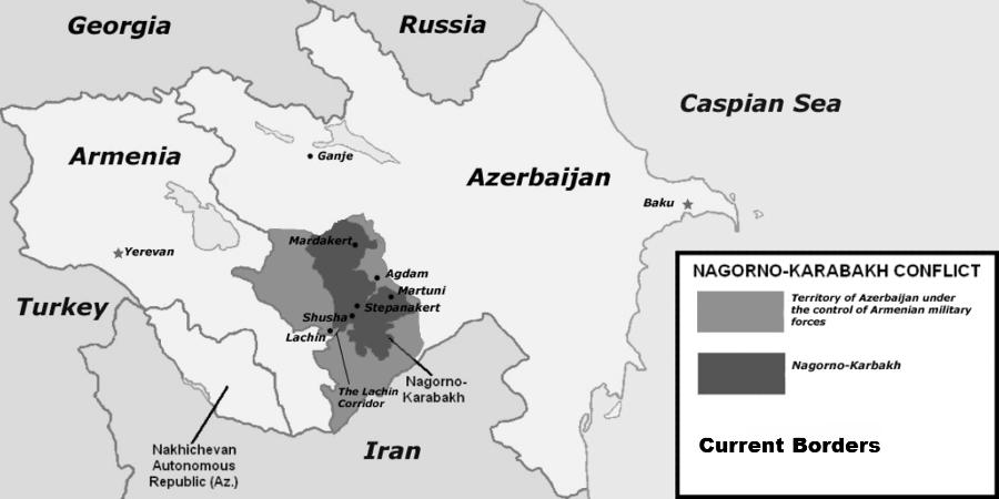 Armenia Azerbaiyan conflicto mapa
