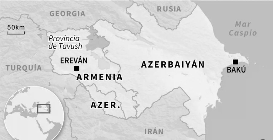 Armenia Azerbaiyan mapa combates la-tinta