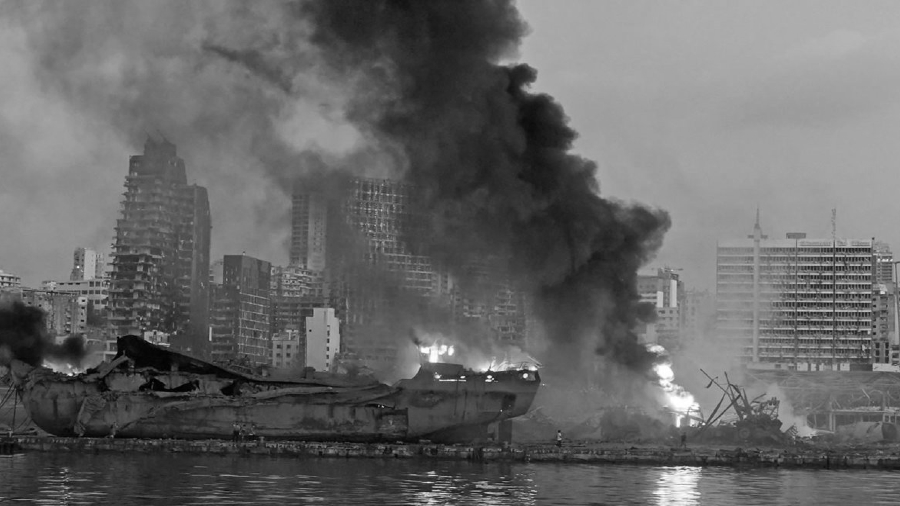 Libano puerto de Beirut destruido la-tinta