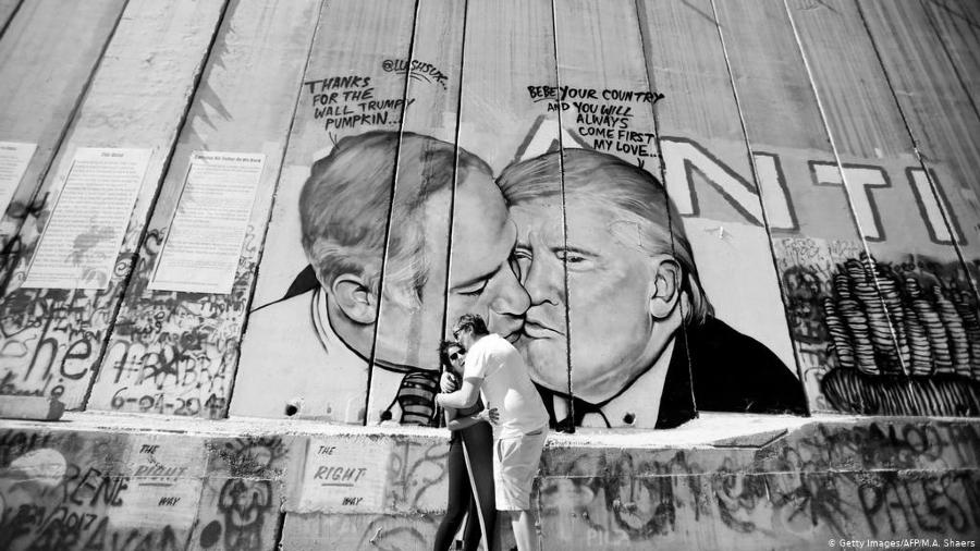 Estados Unidos Trump Netanyahu muro grafiti la-tinta