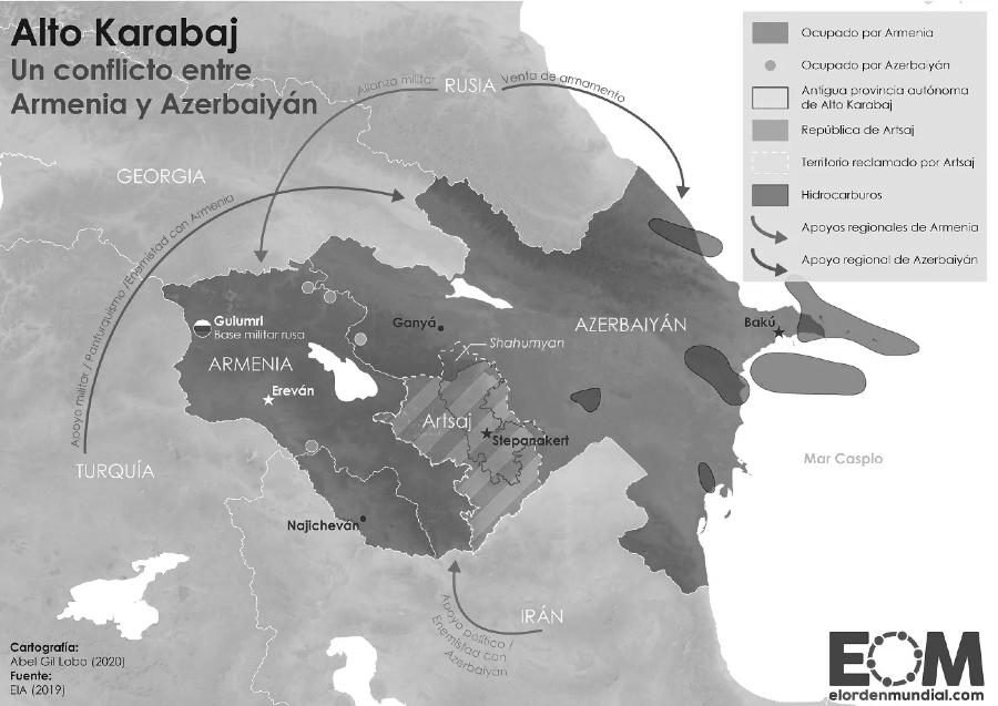 Armenia Azerbaiyan Alto Karabaj mapa