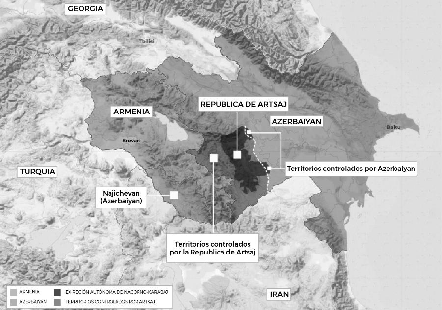 Armenia Azerbaiyan Artsaj mapa la-tinta