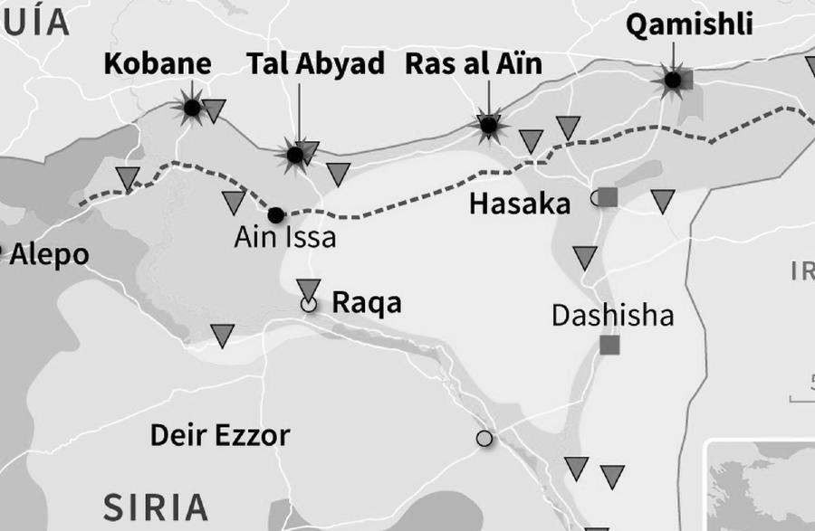 Kurdistan sirio ciudades mapa la-tinta