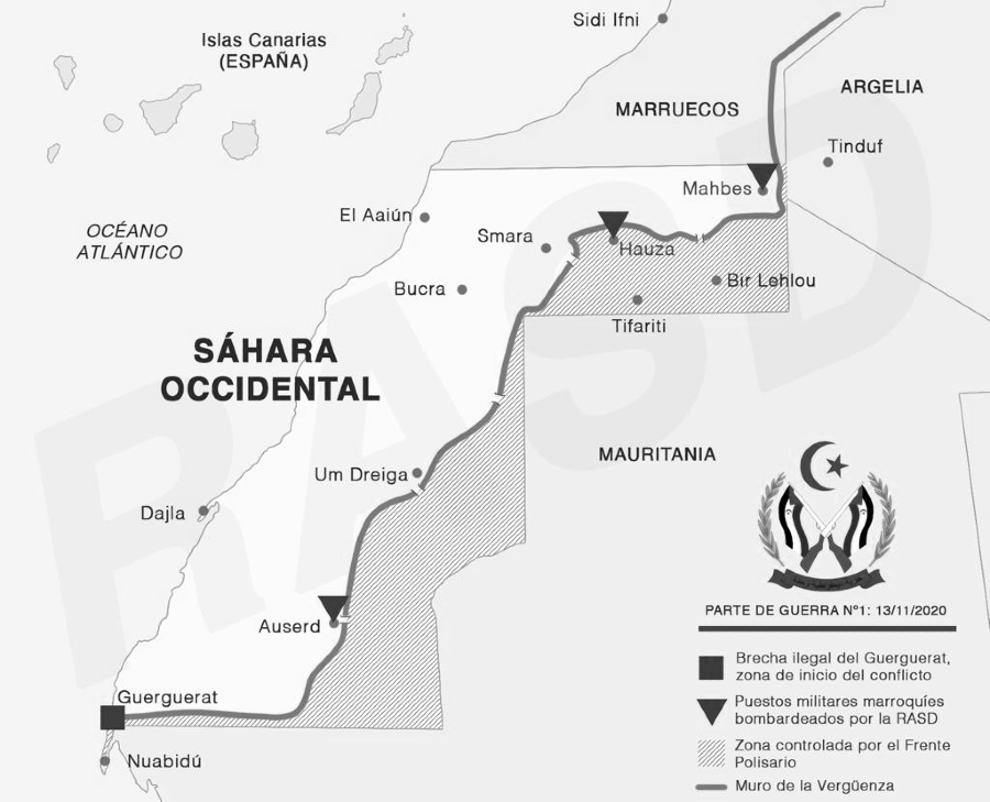 Sahara Occidental mapa muro de la verguenza la-tinta