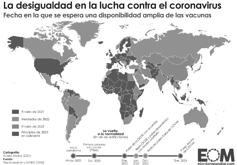 coronavirus mapa distribucion de vacunas la-tinta