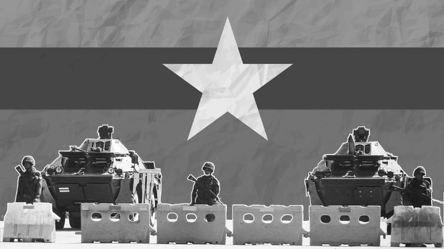 Myanmar golpe de estado bandera la-tinta