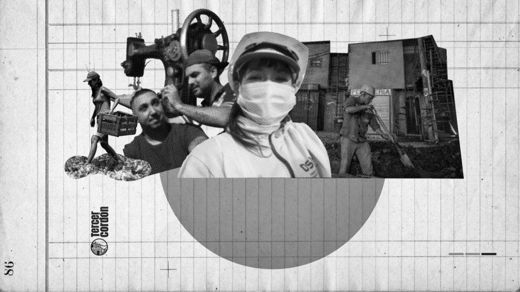 ilustración-collage-economía-popular-trabajadores-barbijo-pandemia