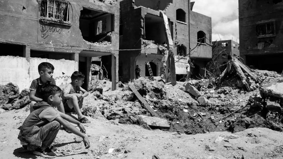 Palestina Franja de Gaza niños destruccion la-tinta